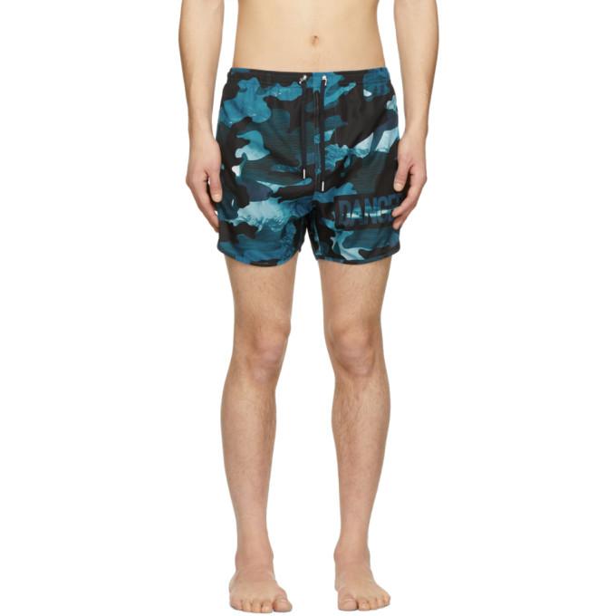Neil Barrett Maillot de bain a motif camouflage bleu Danger
