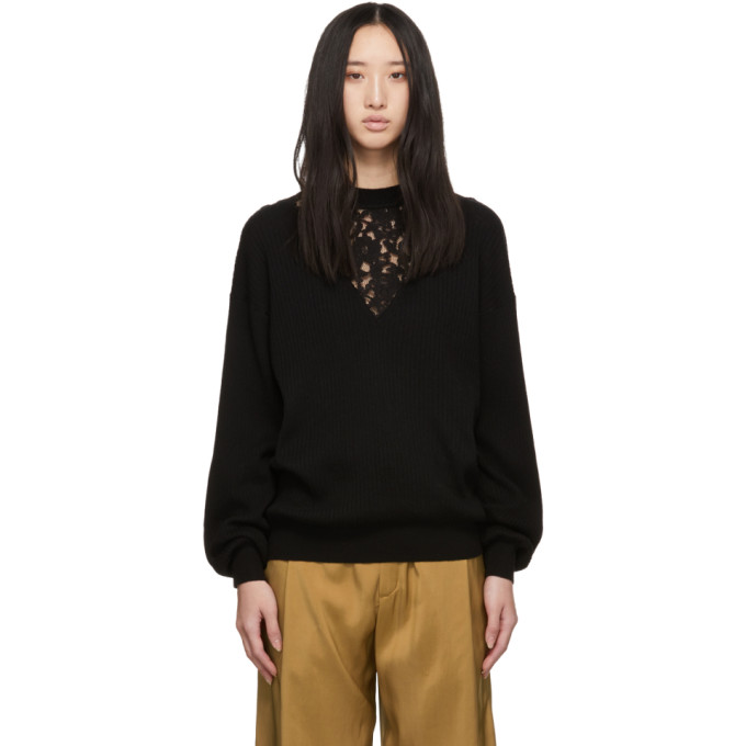 SEE BY CHLOÉ SEE BY CHLOE BLACK LACE INSERT SWEATER