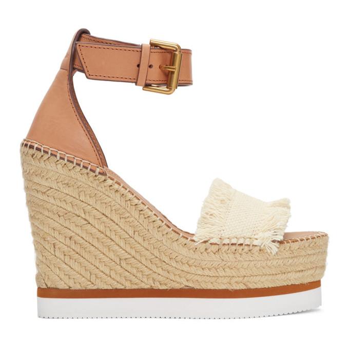 See by Chloe Off-White Glyn Wedge Espadrilles Sandals