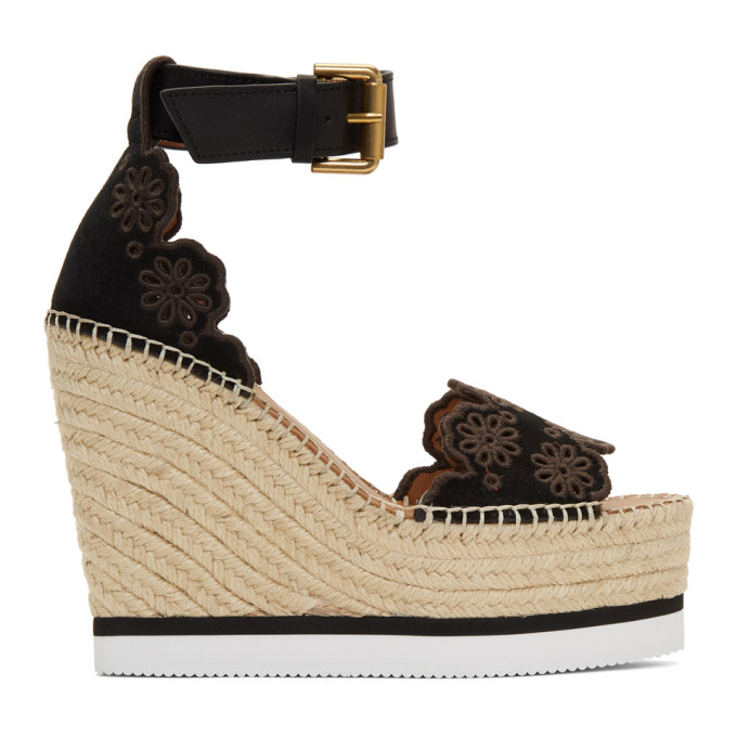 SEE BY CHLOE | See by Chloe Black Glyn Wedge Espadrilles Sandals | Goxip