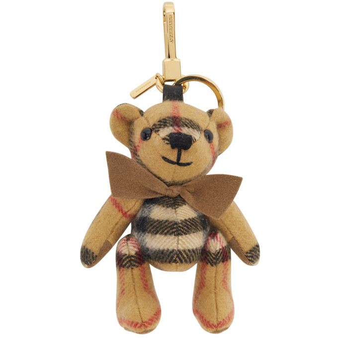 release info on promo codes finest selection Burberry Yellow Cashmere Vintage Check Thomas Bear Keychain