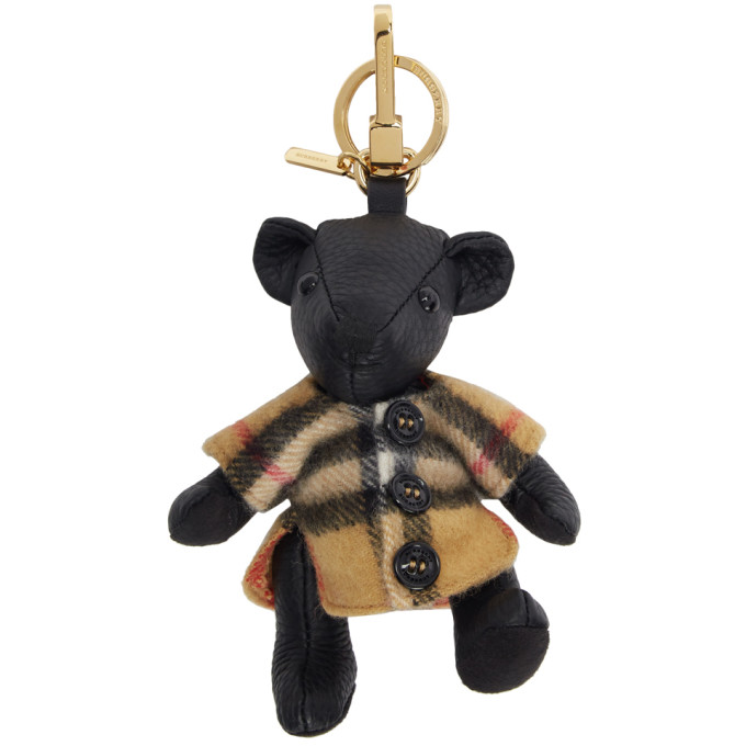 Thomas Bear Charm In Vintage Check Poncho in Black