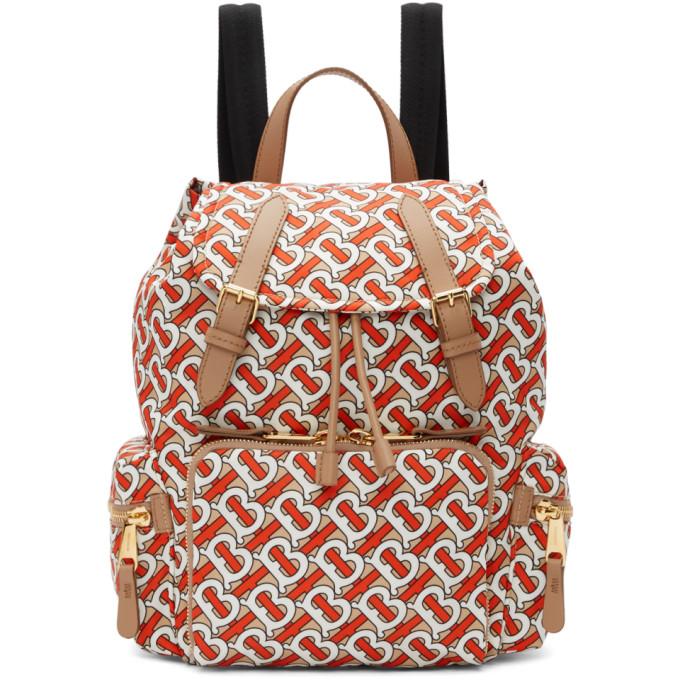 71d2d88421c7 Burberry Medium Rucksack Logo Print Nylon Backpack In Vermillion ...