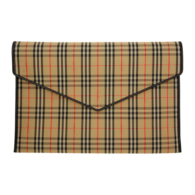 Burberry Beige & Black Large 1983 Check Envelope Clutch