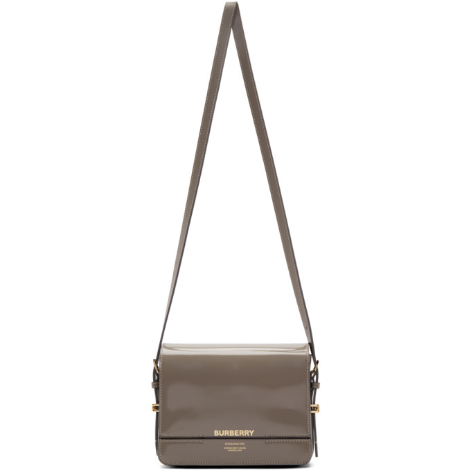 Burberry Grey Patent Small Horseferry Bag