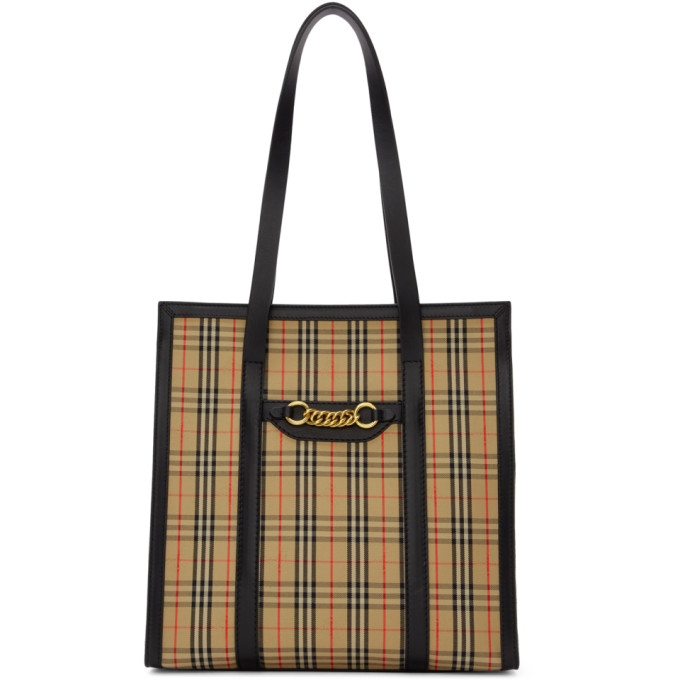 Burberry Beige & Black 1983 Check Link Tote