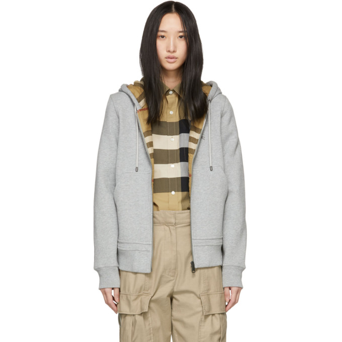 Check-Lined Zip-Front Hoodie Jacket in Pale Grey M