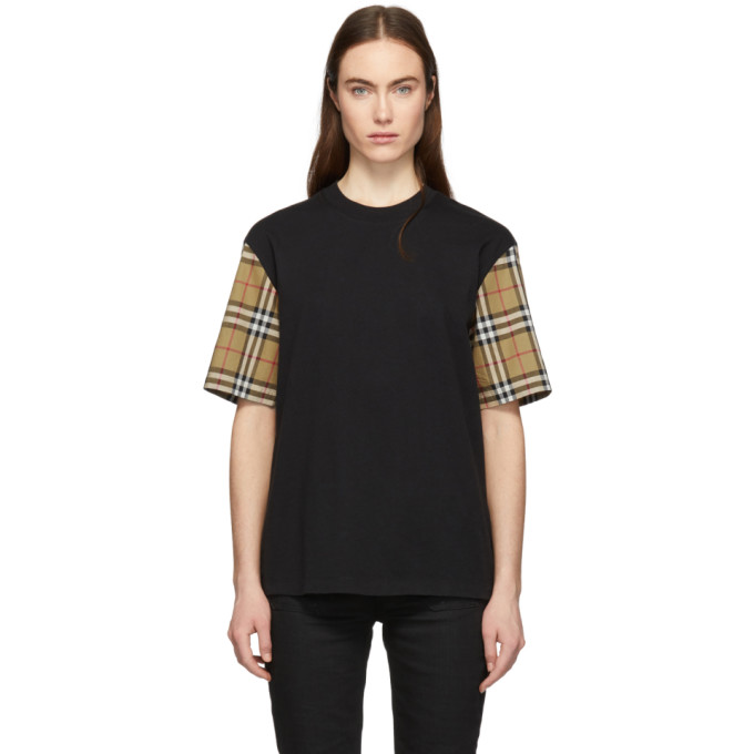 Vintage Check-Sleeve Cotton Oversized T-Shirt in Black from Al Duca d'Aosta