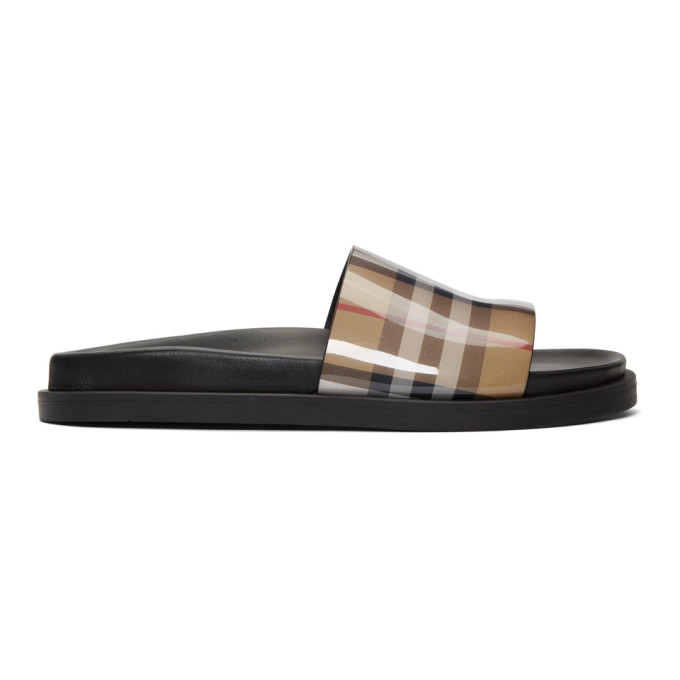 ff3483670ca6 Burberry Tan Vintage Check Slides In Antique Yel