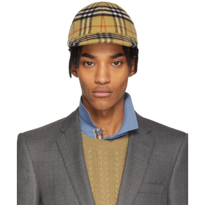 Vintage Check Wool Baseball Cap in Tbc