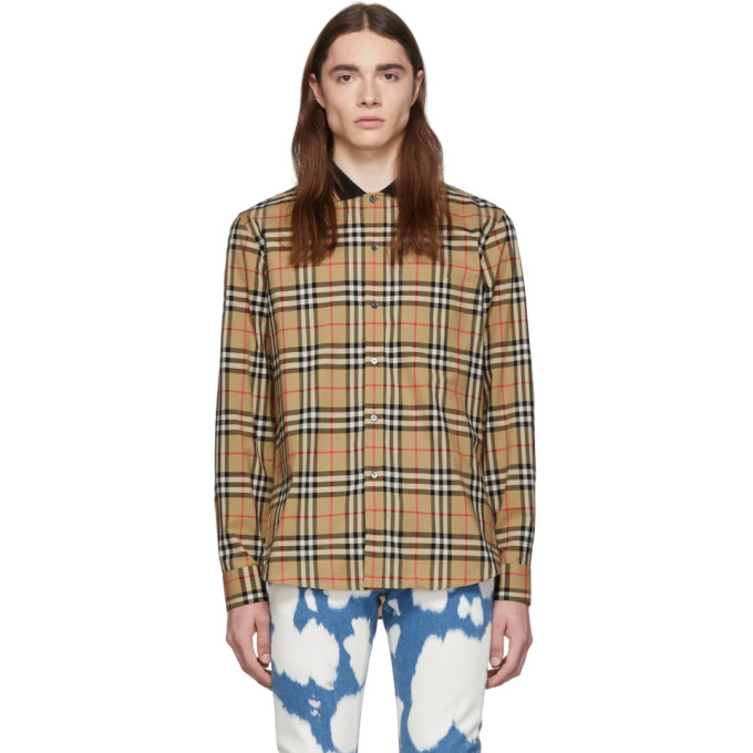 Image of Burberry Beige Archive Check Slim Shirt