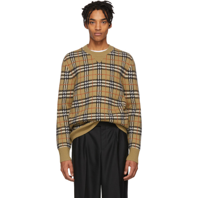 c9804606317711 Burberry Banbury Check-Pattern Felted Cashmere Sweater In 110134Camel