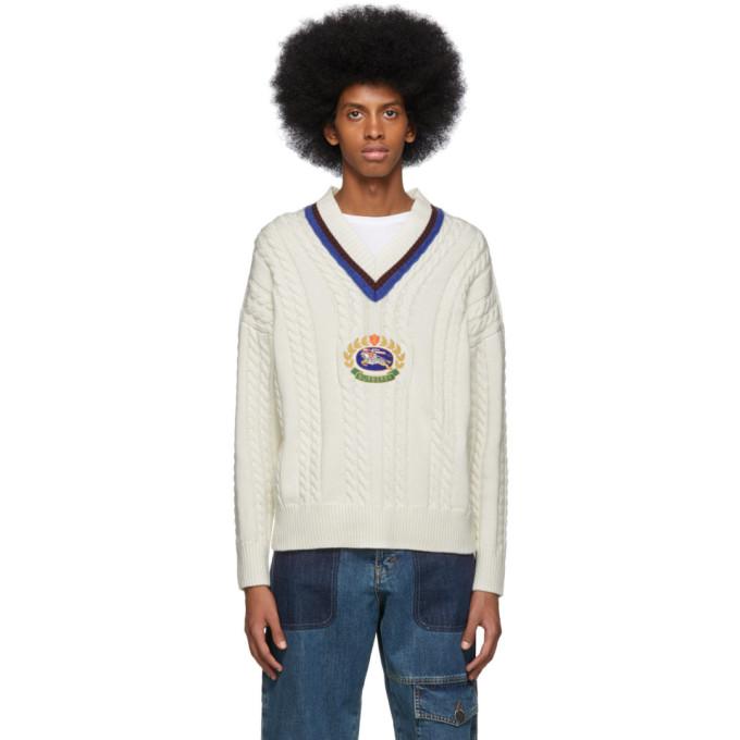 Burberry ホワイト Bedworth V ネック セーター