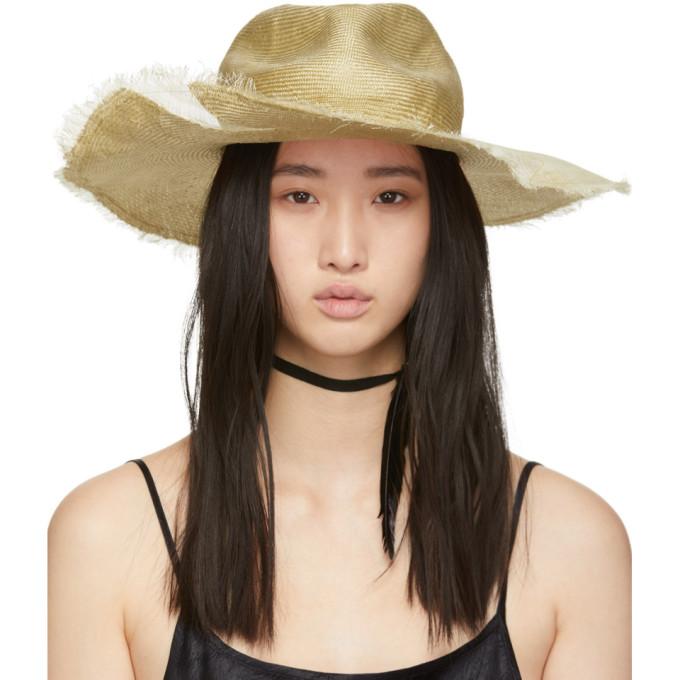Image of Ann Demeulemeester Beige Straw Beach Hat
