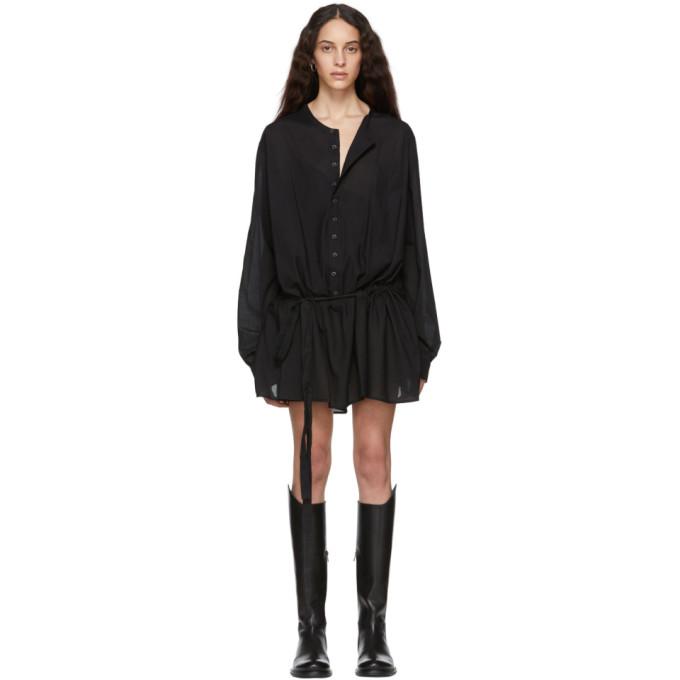 Image of Ann Demeulemeester Black Belted Shirt Dress