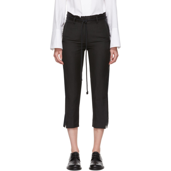 Ann Demeulemeester Pantalon en lin a ceinture noir