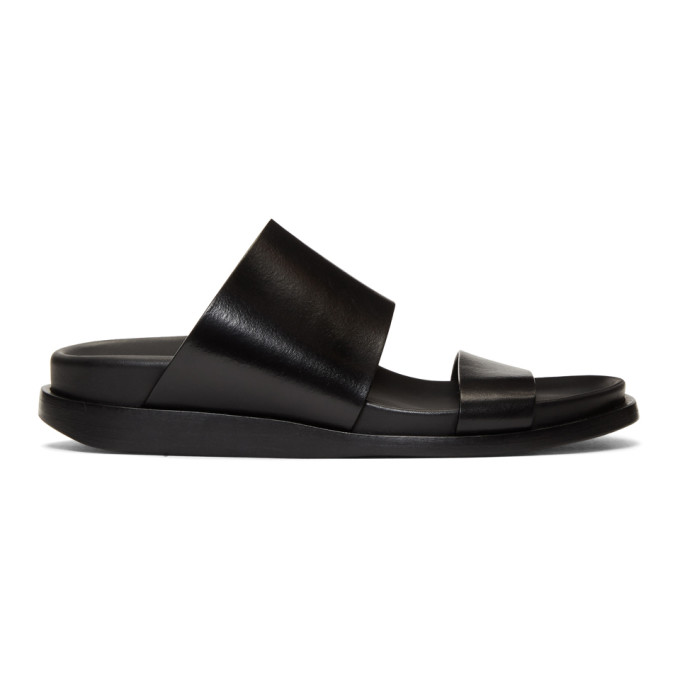 Ann Demeulemeester Black Leather Flat Sandals