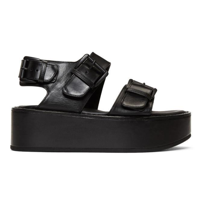 Ann Demeulemeester Black Leather Strap Sandals