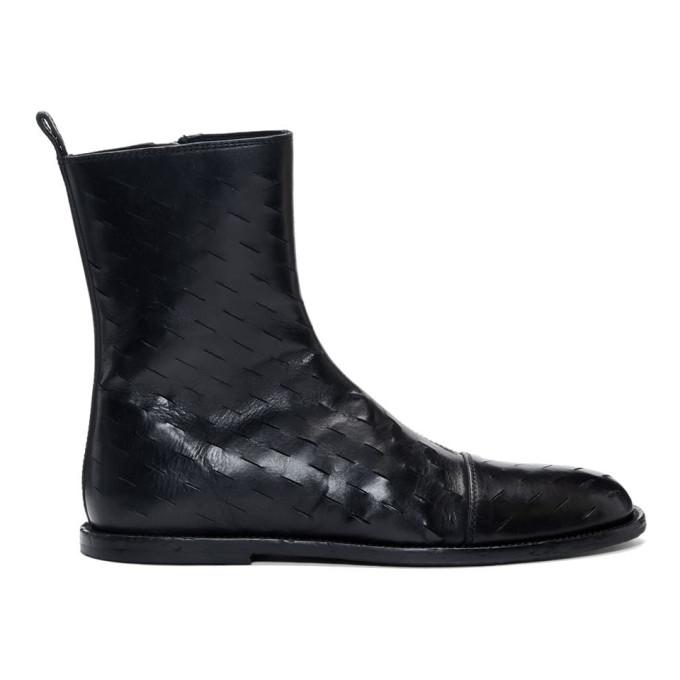 Ann Demeulemeester Black Slits Zip-Up Boots
