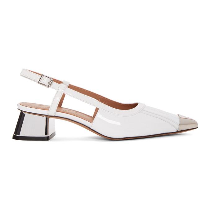 Marni White Patent Cap Toe Slingback Heels