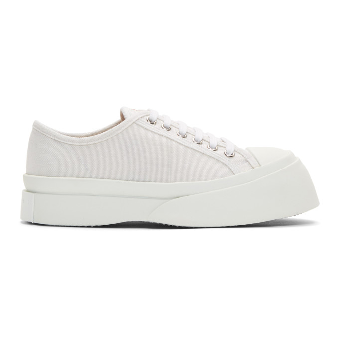 Marni Off-White Canvas Platform Sneakers