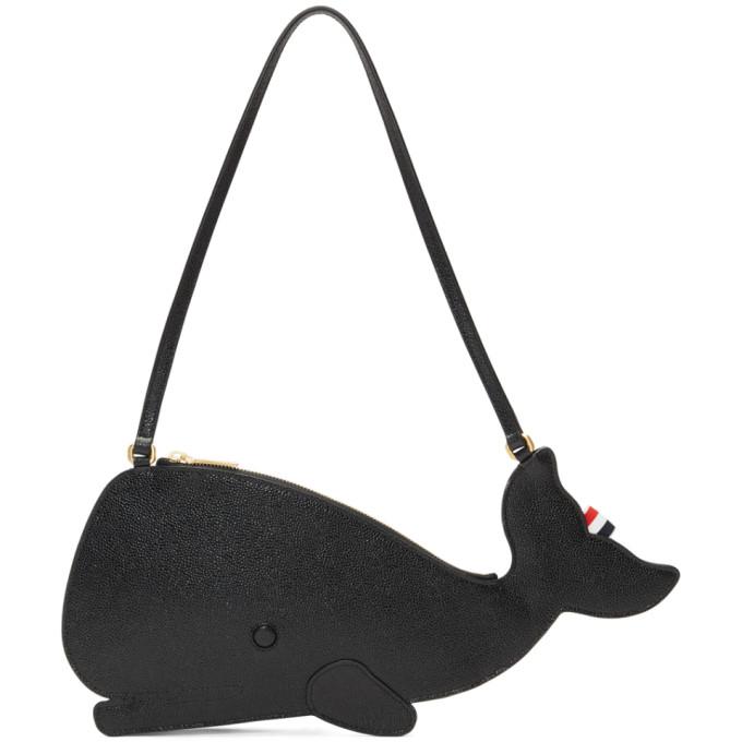 Thom Browne Black Whale Icon Flat Clutch Bag