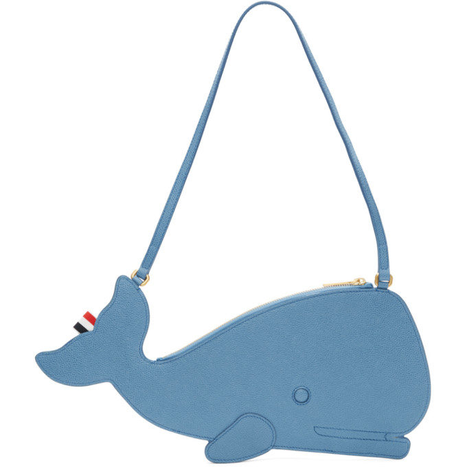 Thom Browne Blue Whale Icon Flat Clutch Bag