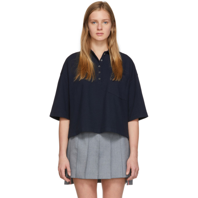 THOM BROWNE | Thom Browne Navy Oversized Pique Polo | Goxip