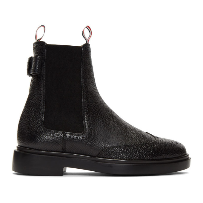 Thom Browne Black Brogued Bow Chelsea Boots