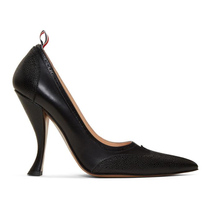 Thom Browne Black Brogued Curved Heels