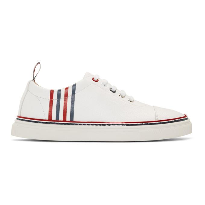 Thom Browne White 4-Bar Toe Cap Sneakers