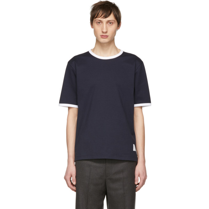 Thom Browne Tri-Colour Step-Hem Cotton T-Shirt In 415 Navy