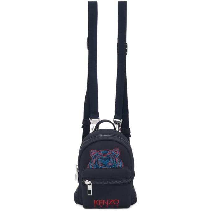 Kenzo Navy Neoprene Mini Tiger Backpack in 76A  Navy B