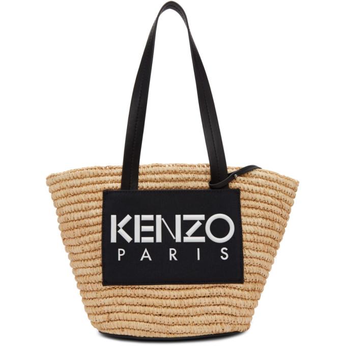 Kenzo Beige & Black Summer Basket Tote