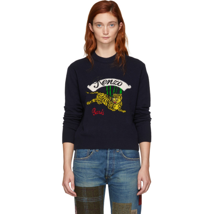 Kenzo Navy Limited Edition Jumping Tiger Sweater in Blue