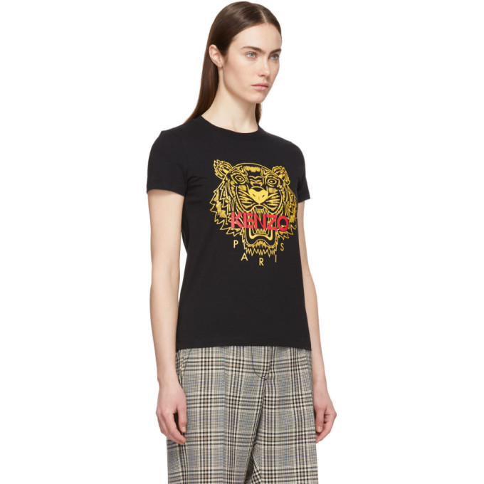 Shop Kenzo Black Tiger T-Shirt In 99 Black a4ae65c46