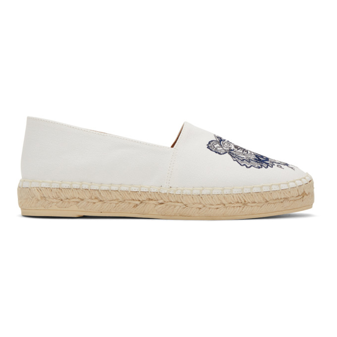 Kenzo White Canvas Classic Tiger Espadrilles