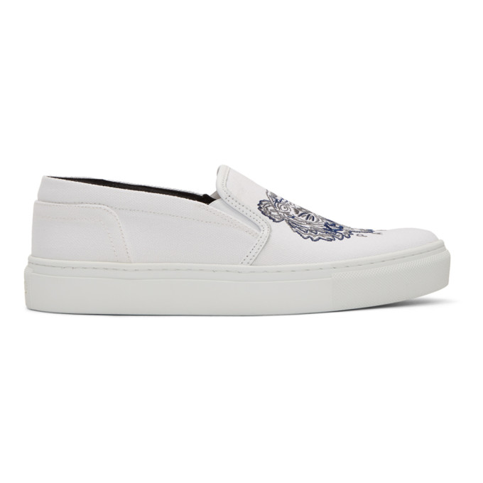 Kenzo White Tiger K-Skate Slip-On Sneakers