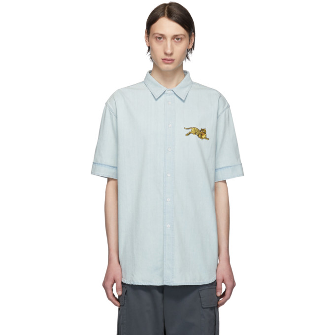 Kenzo ブルー デニム スリム フィット ジャンピング タイガー シャツ