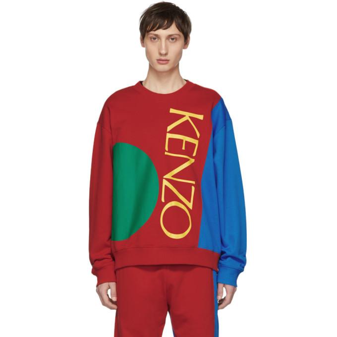 Kenzo レッド and ブルー カラーブロック ロゴ スウェットシャツ