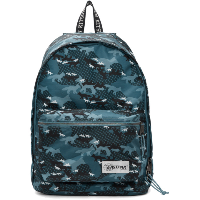 Maison Kitsune Blue Eastpak Edition Camouflage Out Of Office Backpack
