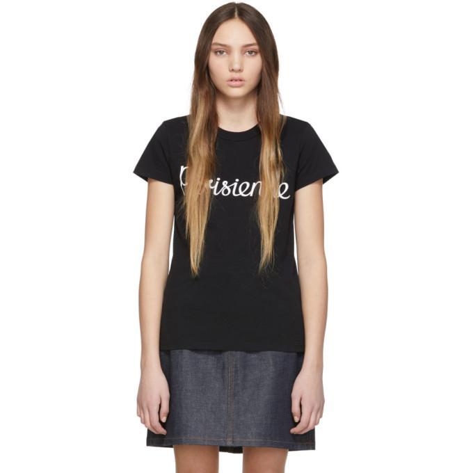 Maison Kitsuné T-shirts MAISON KITSUNE BLACK PARISIENNE T-SHIRT