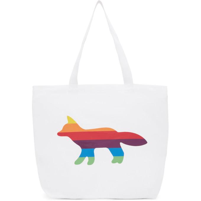 Maison Kitsuné SSENSE Exclusive White Rainbow Fox Tote