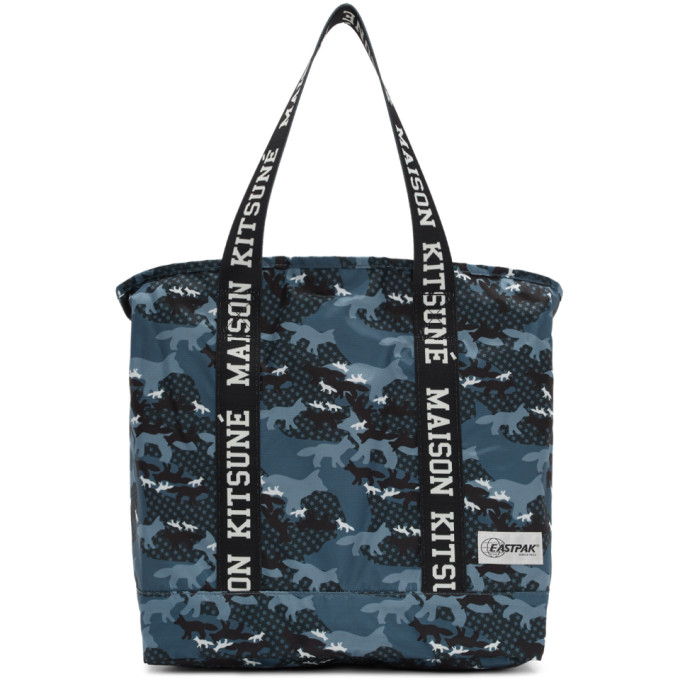 Maison Kitsuné Blue Eastpak Edition Camouflage Flask Tote