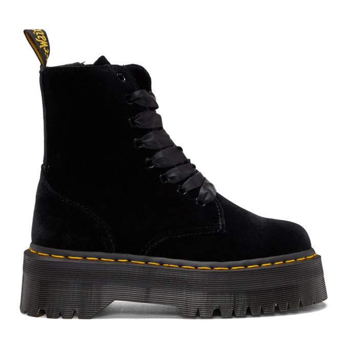Dr. Martens Black Velvet Jadon Platform Boots