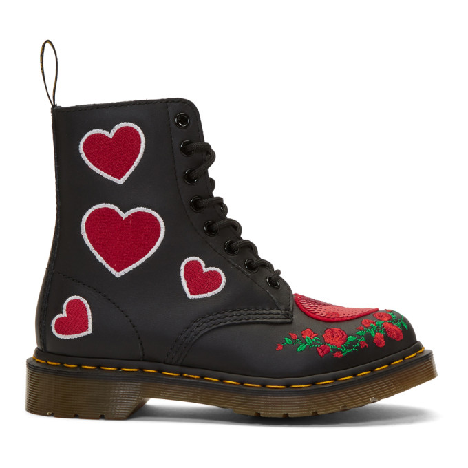 Image of Dr. Martens Black 1460 Pascal Hearts Boots