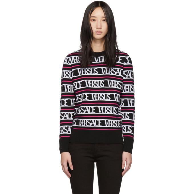 Versus Black & Pink Knit 'Versus Versace' Sweater
