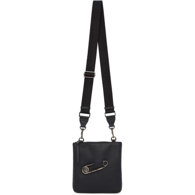 Versus Black Safety Pin Messenger Bag