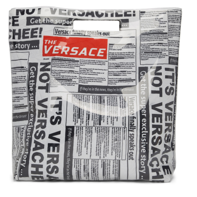 Versace White & Black Newspaper Shopping Tote