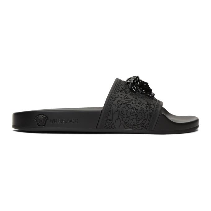 Versace Slippers VERSACE BLACK BAROQUE MEDUSA SLIDES